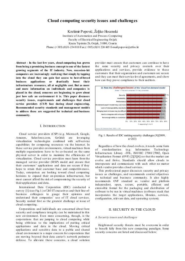 Cloud computing security issues and challenges Krešimir Popović, Željko Hocenski Institute of Automation and Process Compu...