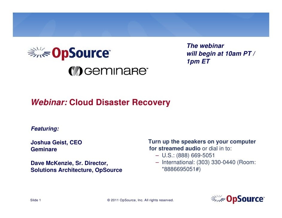 Cloud Disaster Recovery