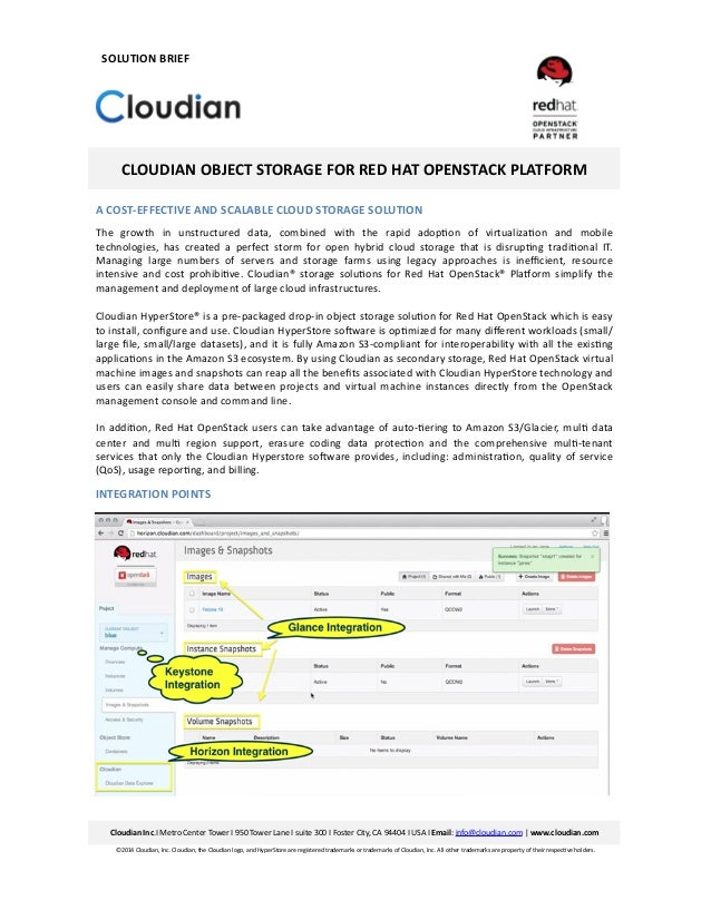 CLOUDIAN	   OBJECT	   STORAGE	   FOR	   RED	   HAT	   OPENSTACK	   PLATFORM	    A	   COST-­‐EFFECTIVE	   AND	   SCALABLE	 ...
