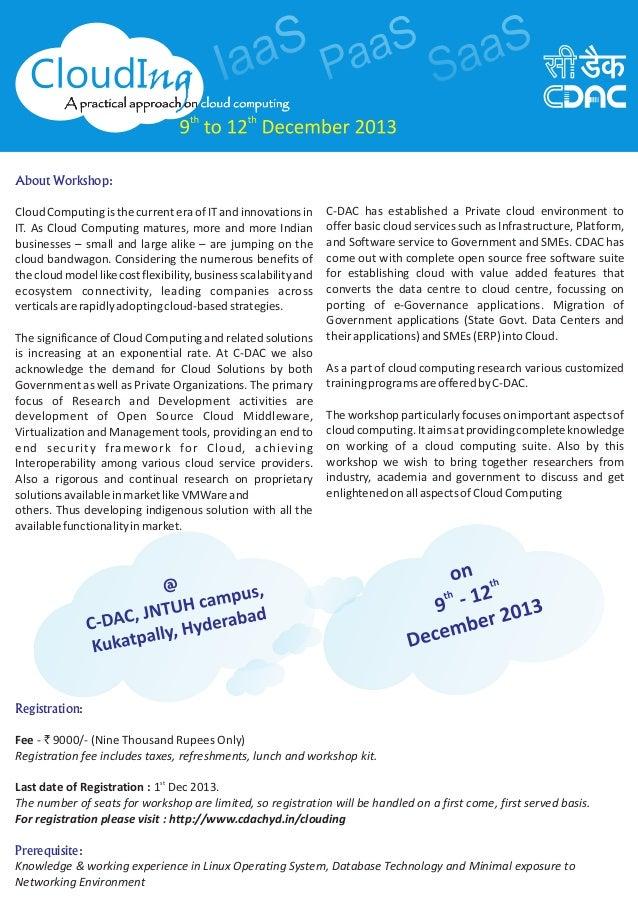 C-DAC, Workshop on Cloud Computing