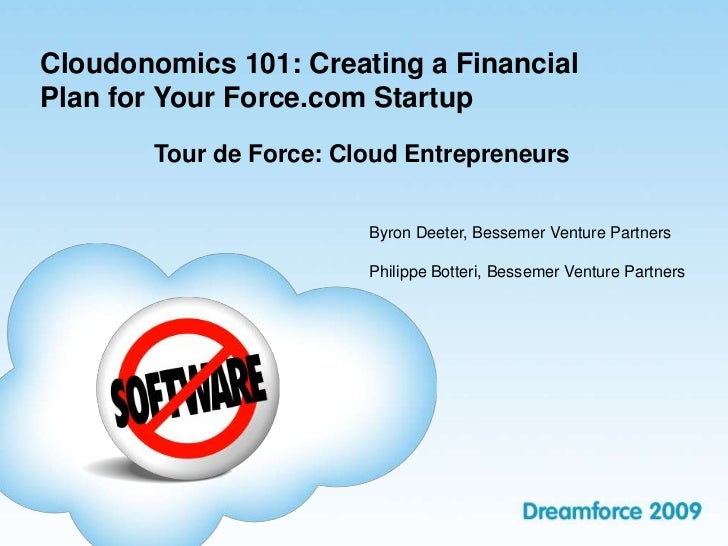 Cloudonomics 101 - Creating a Financial Plan for your SaaS or Cloud Computing Business