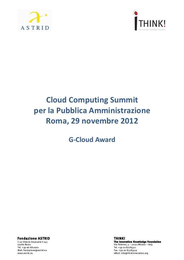 G-Cloud Award: un bando per la Pubblica Amministrazione Centrale e Locale