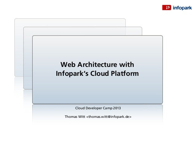 Cloud Developer Camp 2013 Thomas Witt <thomas.witt@infopark.de> Web Architecture with Infopark's Cloud Platform