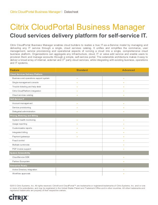 Citrix CloudPortal Business Manager Citrix CloudPortal Business Manager I Datasheet Cloud services delivery platform for s...