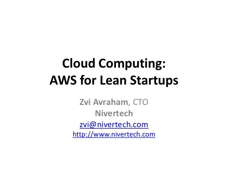 Cloud Computing: AWS for Lean Startups