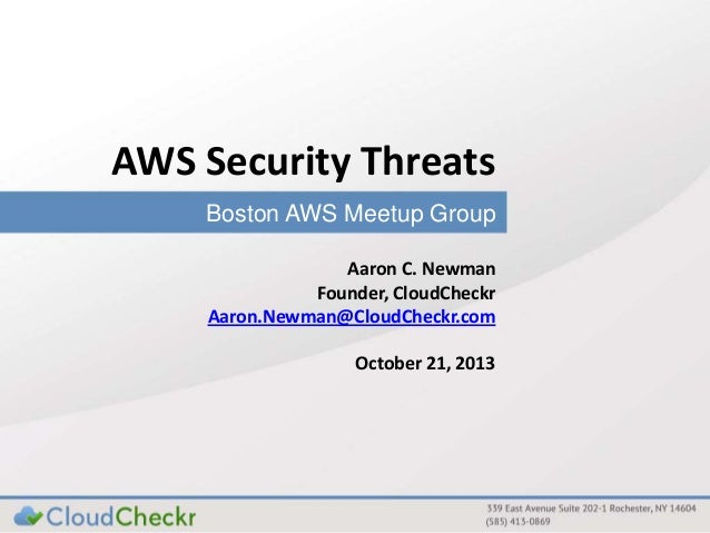 Cloud security : Boston AWS user group