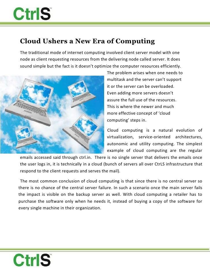 Cloud Ushers -  A New Era Of Computing