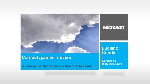 A Estratégia de Computação na Nuvem da Microsoft