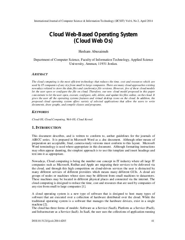 Cloud Web-Based Operating System (Cloud Web Os)