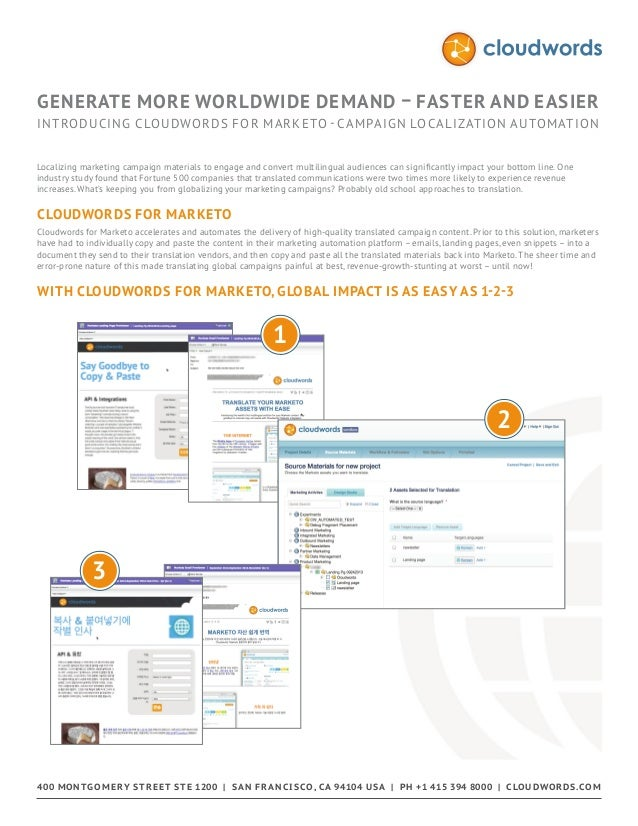 Overview Cloudwords for Marketo