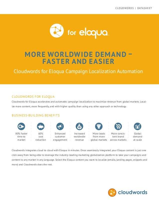 MORE WORLDWIDE DEMAND – FASTER AND EASIER Cloudwords for Eloqua Campaign Localization Automation CLOUDWORDS FOR ELOQUA Clo...