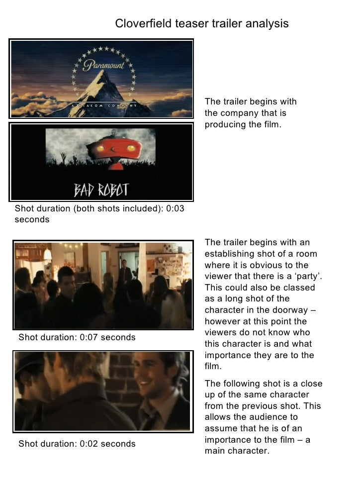 Cloverfield Teaser Trailer Anaylsis