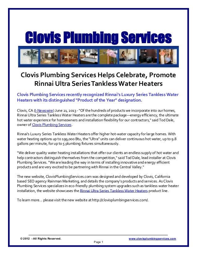 Clovis Plumbing ServicesClovis Plumbing Services Helps Celebrate, PromoteRinnai Ultra SeriesTanklessWater HeatersClovis Pl...