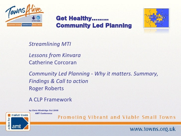 by Chris Windridge Oct 2008 AMT Conference Get Healthy......... Community Led Planning Streamlining MTI Lessons from Kinva...