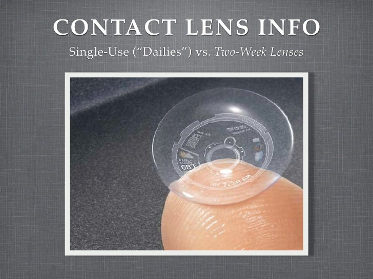 """CONTACT LENS INFO  Single-Use (""""Dailies"""") vs. Two-Week Lenses"""