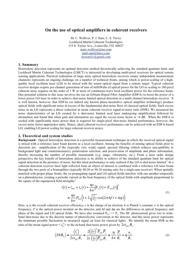 On the use of optical amplifiers in coherent receivers                                           M. C. Welliver, P. J. Sun...