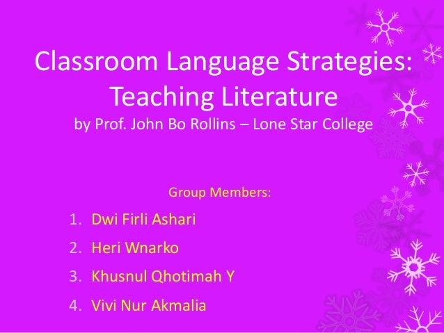 Classroom Language Strategies: Teaching Literature