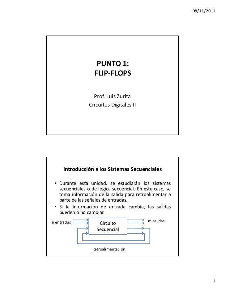 08/11/2011                     PUNTO 1:                    FLIP-FLOPS                   Prof. Luis Zurita                 ...