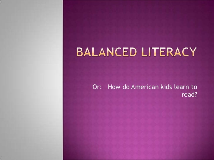 Or: How do American kids learn to                            read?