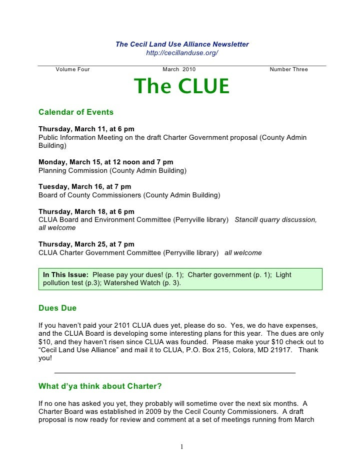 The Cecil Land Use Alliance Newsletter                                 http://cecillanduse.org/       Volume Four         ...