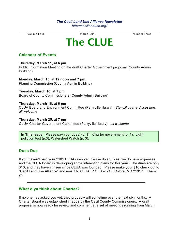 Clua March Newsletter