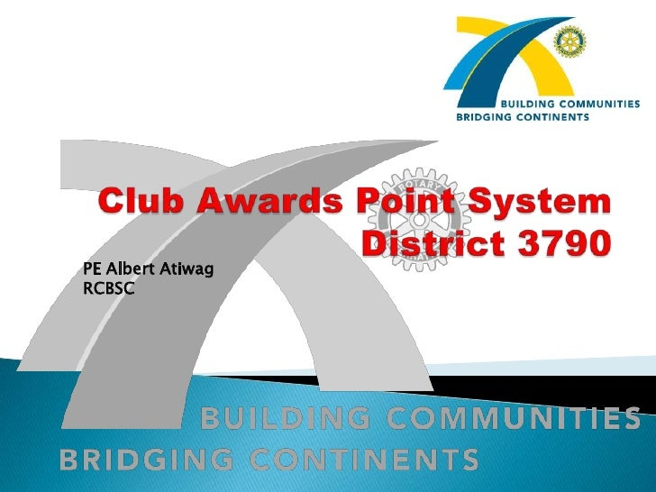 Club Awards Point SystemDistrict 3790<br />PE Albert Atiwag<br />RCBSC<br />