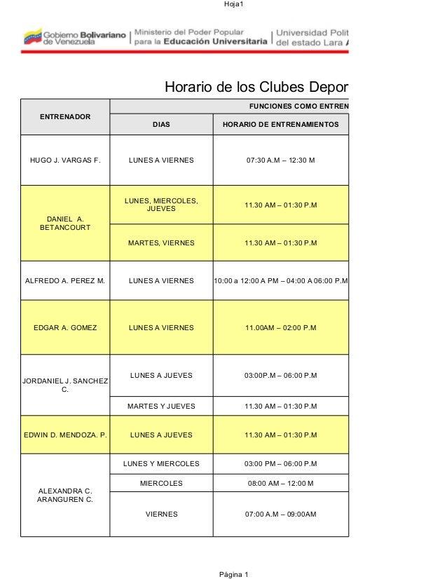 Hoja1  Horario de los Clubes Deportivos FUNCIONES COMO ENTRENADOR (A) ENTRENADOR  DIAS  HORARIO DE ENTRENAMIENTOS  LUNES A...