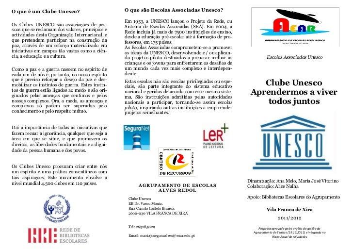 Clube Unesco folheto adultos AE Alves Redol
