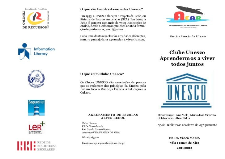 Clube unesco folheto alunos AE Alves Redol 2012