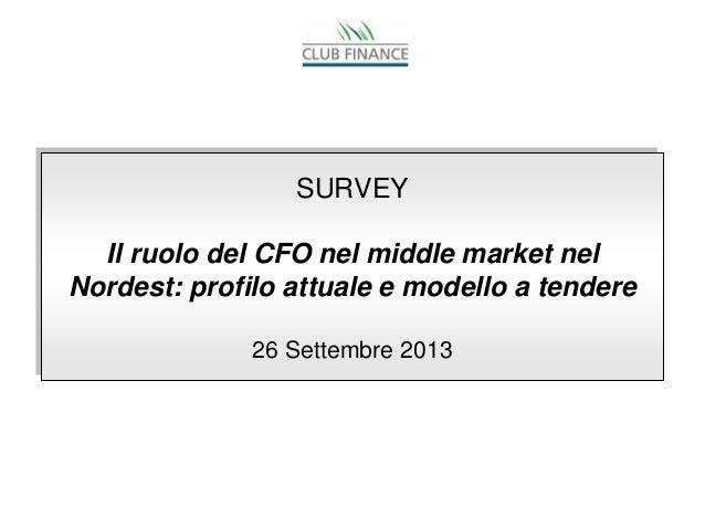 SURVEY Il ruolo del CFO nel middle market nel Nordest: profilo attuale e modello a tendere 26 Settembre 2013 SURVEY Il ruo...