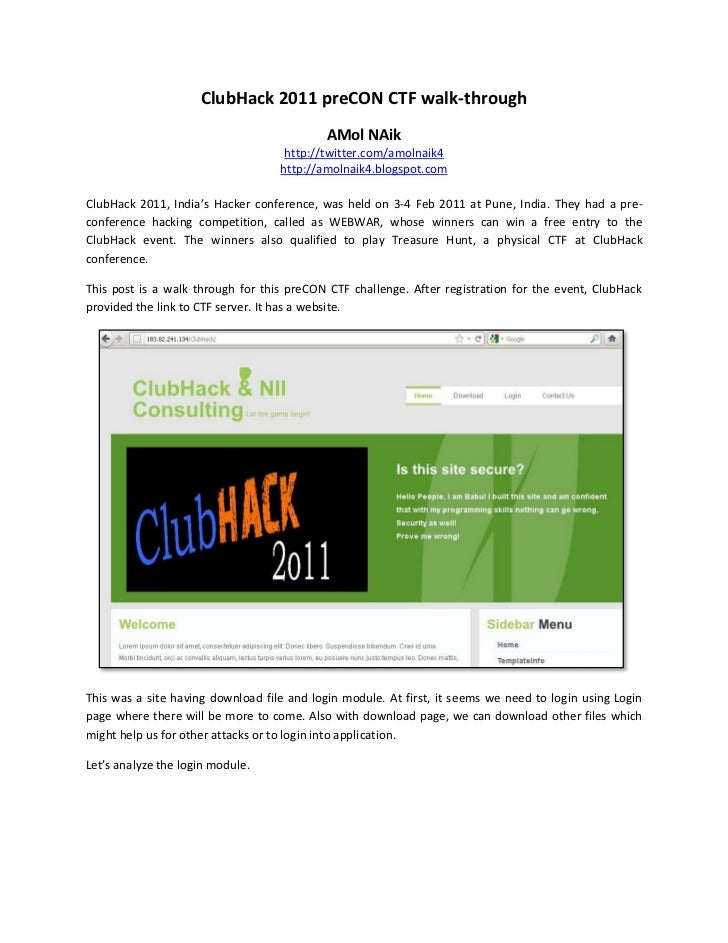 ClubHack 2011 preCON CTF walk-through                                            AMol NAik                                ...