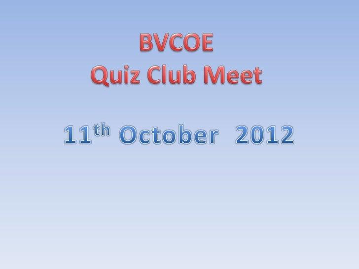 BVCOE quiz Club meet