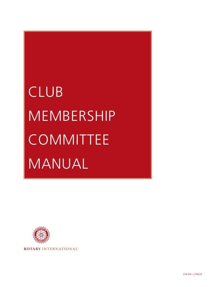 Club membership committee manual