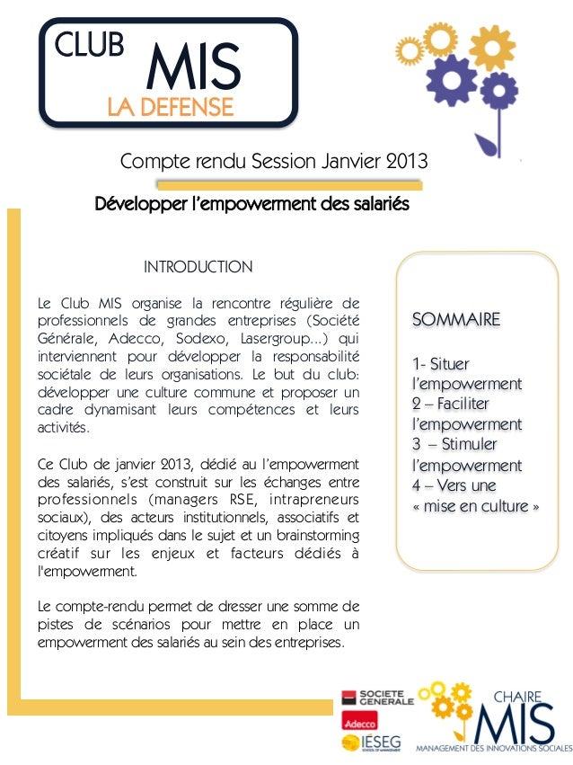 CLUB                 MIS             LA DEFENSE             Compte rendu Session Janvier 2013         Développer l'empow...