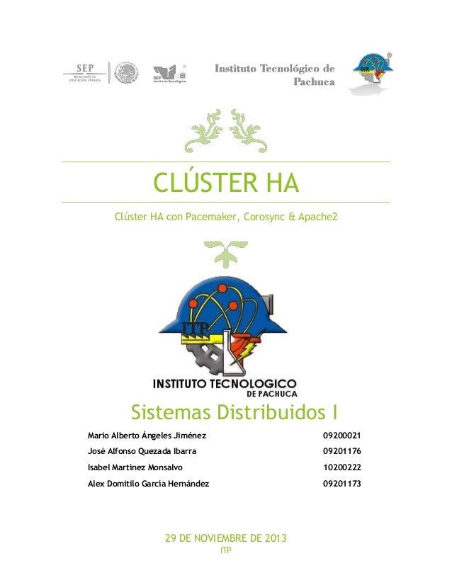 CLÚSTER HA Clúster HA con Pacemaker, Corosync & Apache2  Sistemas Distribuidos I Mario Alberto Ángeles Jiménez  09200021  ...