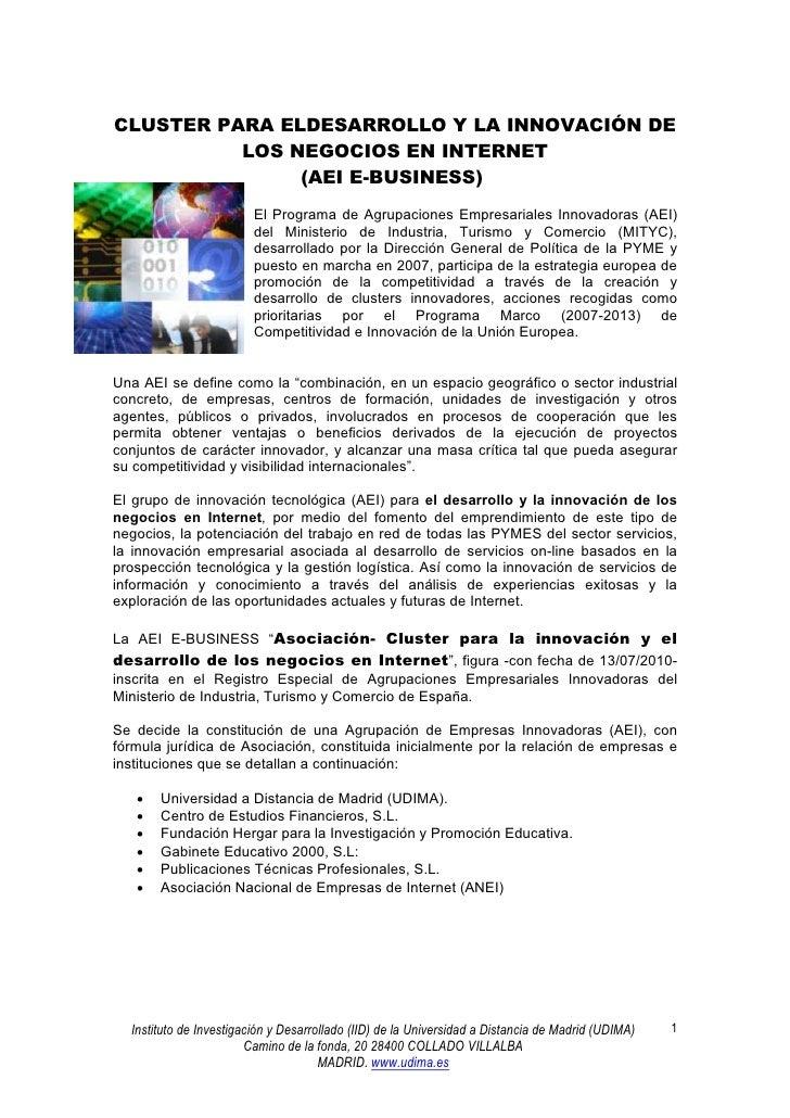CLUSTER PARA ELDESARROLLO Y LA INNOVACIÓN DE          LOS NEGOCIOS EN INTERNET               (AEI E-BUSINESS)             ...