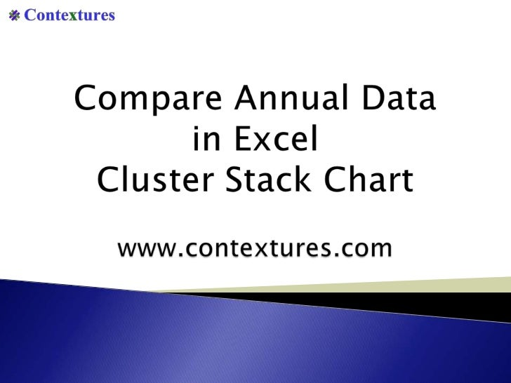 Compare Annual Datain Excel Cluster Stack Chart<br />www.contextures.com<br />