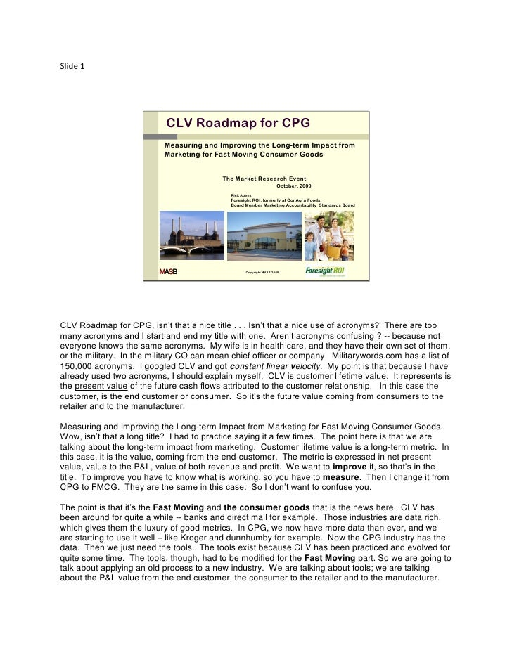 Slide 1                                CLV Roadmap for CPG                            Measuring and Improving the Long-ter...