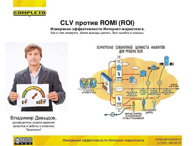 CLV против ROMI (ROI)                         Измерение эффективности Интернет-маркетинга.                         Как и ч...