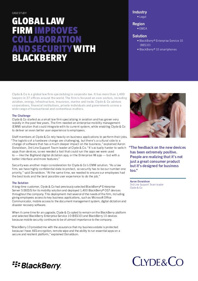 Global Law Firm Improves Collaboration, Productivity And Security With BlackBerry