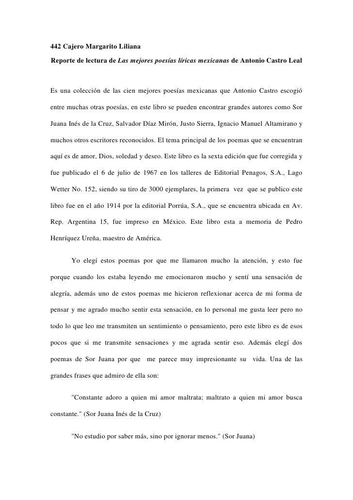 442 Cajero Margarito LilianaReporte de lectura de Las mejores poesías líricas mexicanas de Antonio Castro LealEs una colec...
