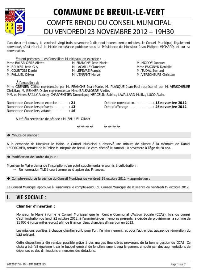 COMMUNE DE BREUIL-LE-VERT                           COMPTE RENDU DU CONSEIL MUNICIPAL                          DU VENDREDI...