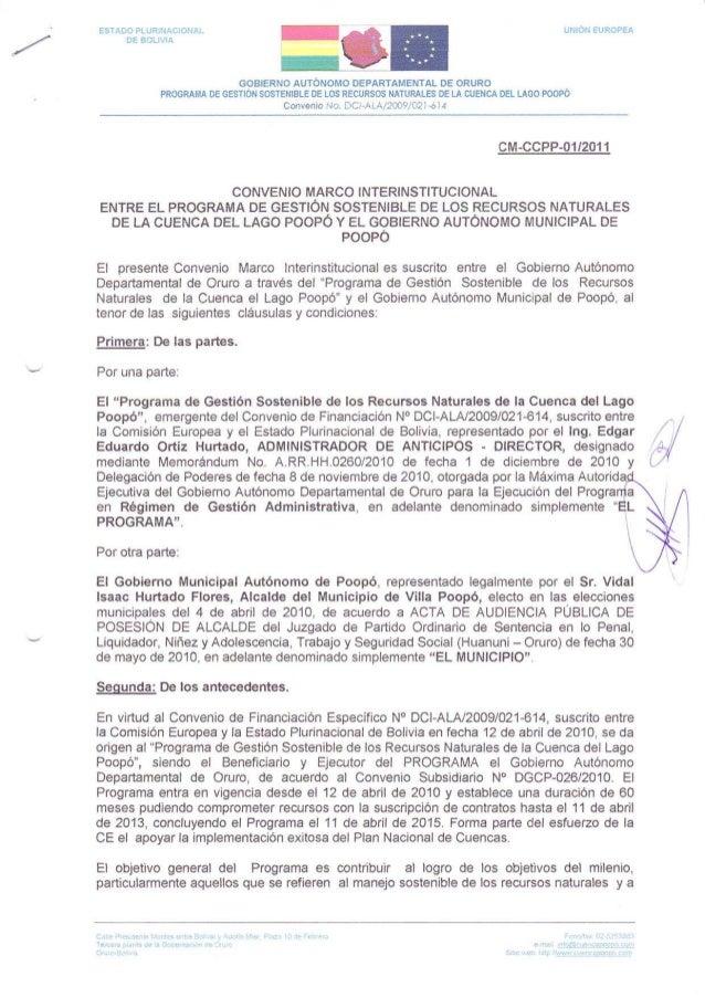 CONVENIO MARCO INTERINSTITUCIONAL ENTRE EL PROGRAMA CUENCA POOPO Y EL GOB. AUTONOMO MUNICIPAL DE POOPO