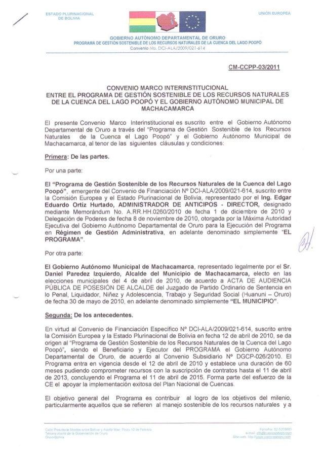 CONVENIO MARCO INTERINSTITUCIONAL ENTRE EL PROGRAMA CUENCA POOPO Y EL GOB. AUTONOMO MUNICIPAL DE MACHACAMARCA