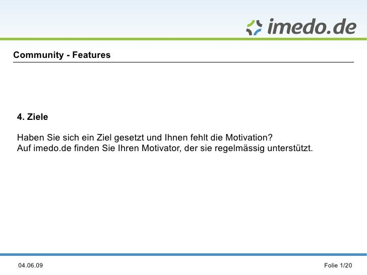 imedo.de Feature Ziele