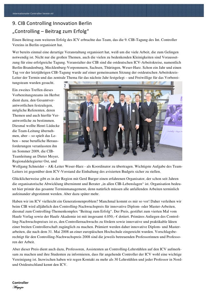 Internationaler Controller Verein eV Internationaler Controller Verein eV       9. CIB Controlling Innovation Berlin      ...