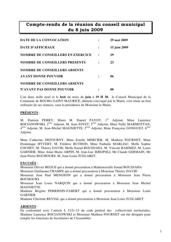 Compte-rendu de la réunion du conseil municipal                   du 8 juin 2009  DATE DE LA CONVOCATION                  ...
