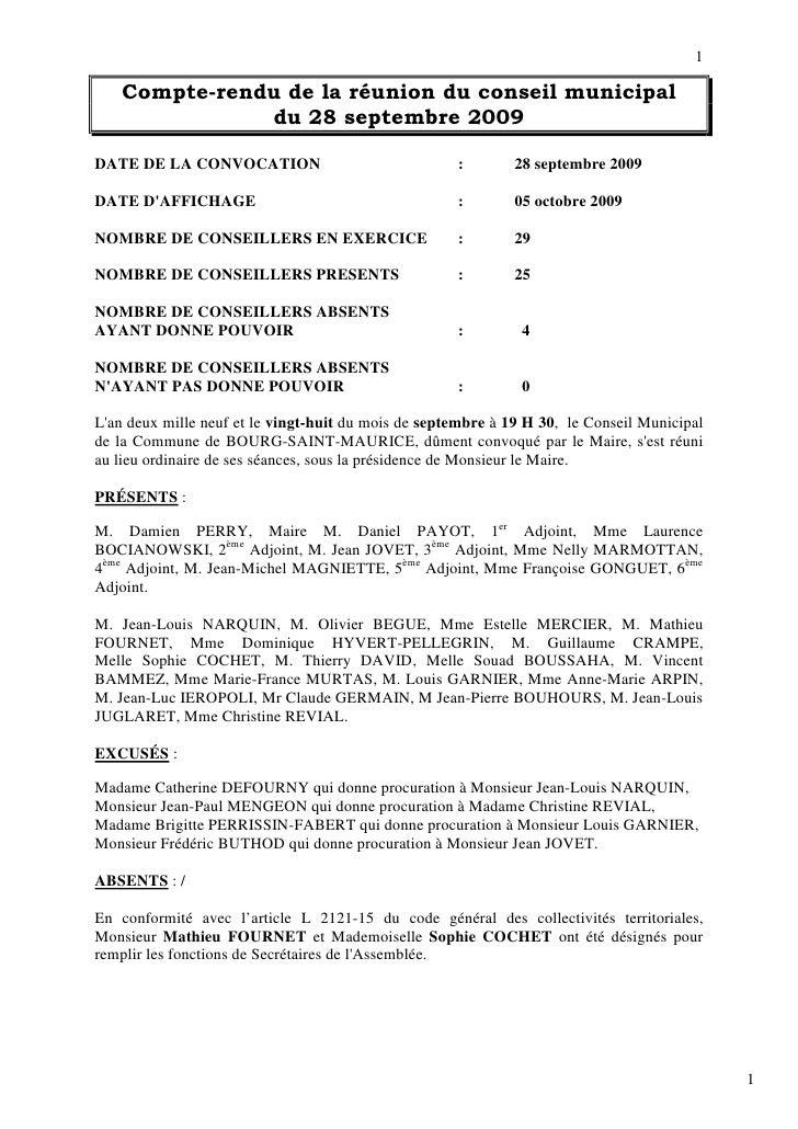 1      Compte-rendu de la réunion du conseil municipal                du 28 septembre 2009  DATE DE LA CONVOCATION        ...