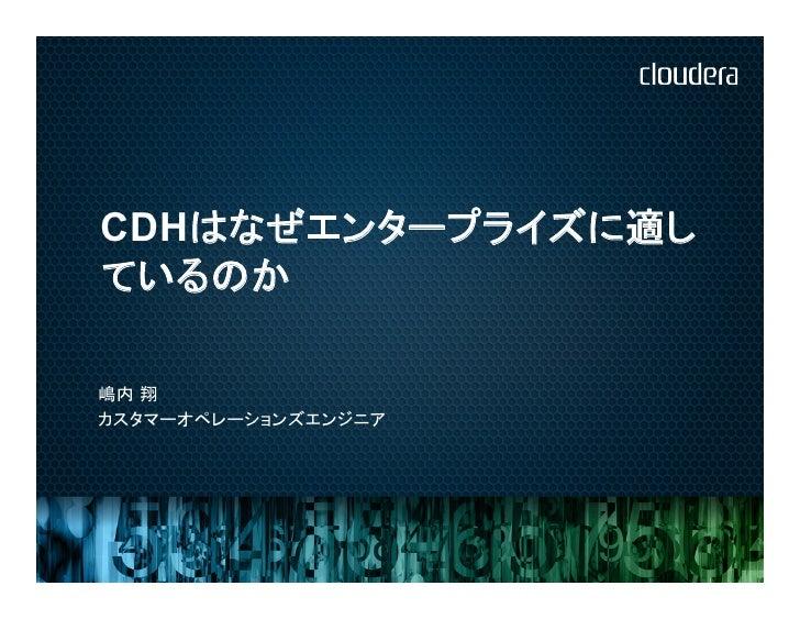 CDHはなぜエンタープライズに適しているのか嶋内 翔カスタマーオペレーションズエンジニア