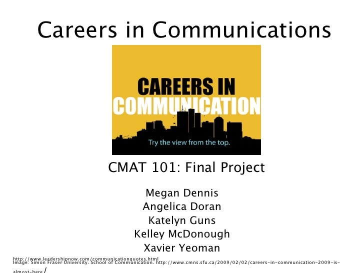 Careers in Communications                                   CMAT 101: Final Project                                       ...